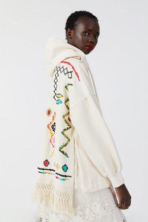 Zara Oversized combi-sweatshirt met franjes