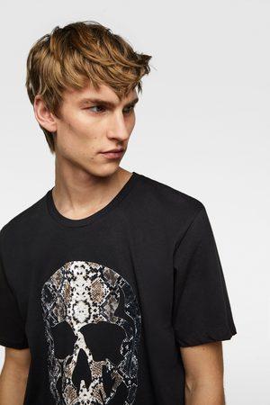 Zara T-shirt met doodshoofd en textuur