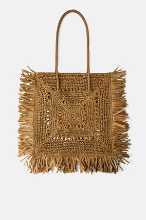 Zara Extra grote shopper in naturel