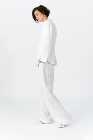 Zara Wijde linnen broek