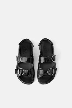 Zara Platte sandalen met gespen en dierenprint