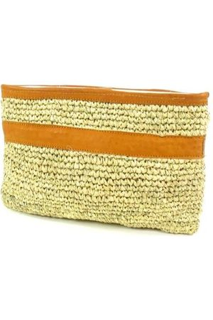 House of Sakk DESA Raffia gevoerde Clutch Naturel Cognac