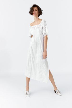 Zara Dames Jurken - Geborduurde jurk met entre-deux