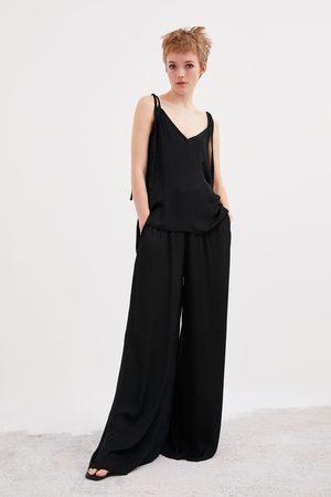 Zara Dames Wijde broeken - Wijde soepelvallende broek