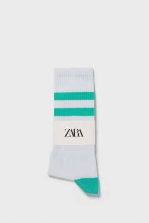 Zara Ribsokken met gekleurde strepen