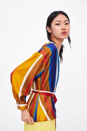 Zara Gestreepte blouse met ceintuur