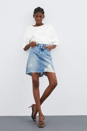 Zara Distressed denim pencil skirt