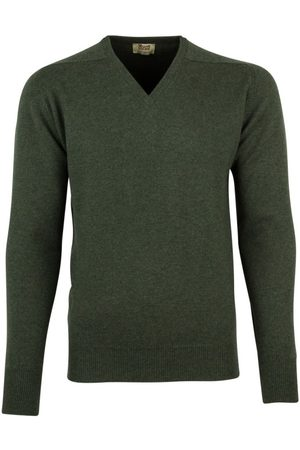 William Lockie Pullover donkergroen lamswol