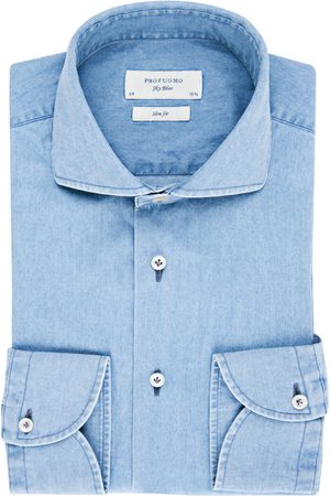 Profuomo Overhemd sky blue casual denim
