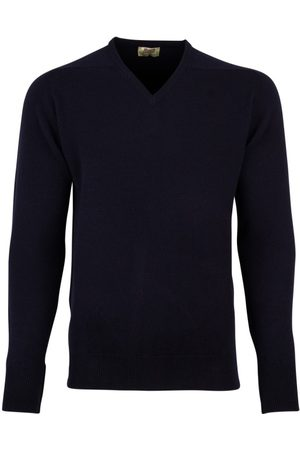 William Lockie Heren Pullovers - Pullover donkerblauw v-hals lamswol