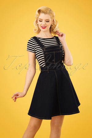 Bunny 50s Dakota Pinafore Dress in Denim