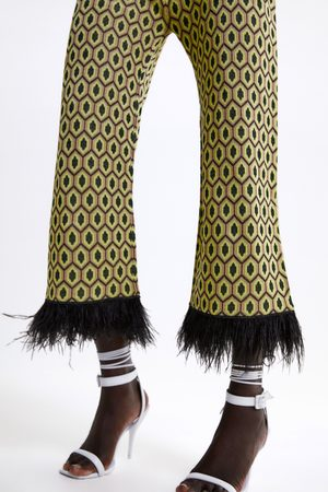 Zara Jacquard trousers with feather trims