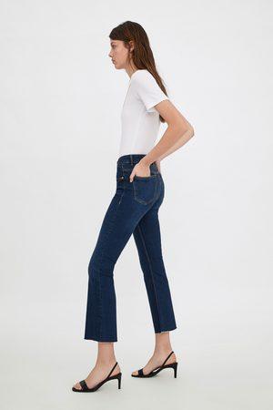 Zara Cropped jeans met mid-rise en wijd uitlopende pijpen