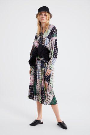 Zara Plissérok met patchworkprint