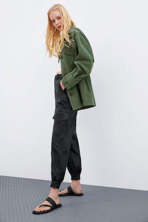 Zara Kunstleren broek met zakken