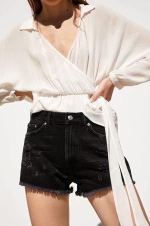 Zara Dames Shorts - Denim short met scheuren