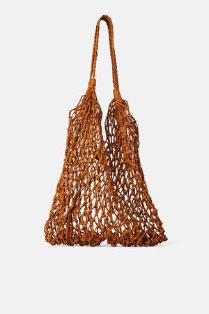 Zara Leren shopper met vlechtwerk