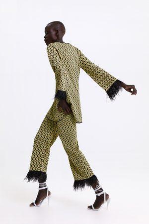 Zara Jacquard sweater with feather trims
