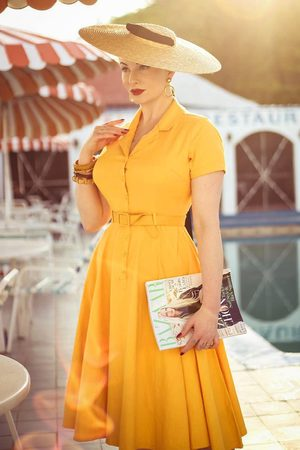 Collectif 50s Caterina Swing Dress in Mustard Yellow