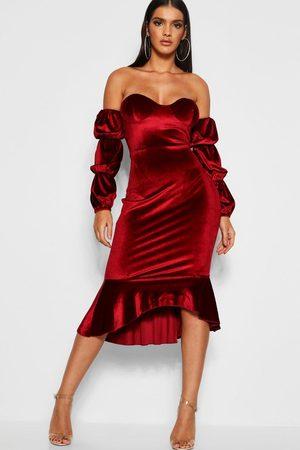 Boohoo Velvet Off Shoulder Fishtail Maxi Dress