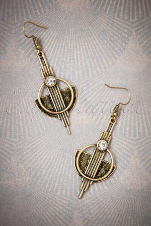 Lovely 20s Art Deco Brass Earrings in Gold