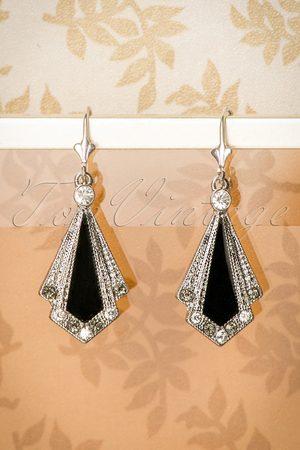 Lovely 30s Art Deco Enamel Earrings