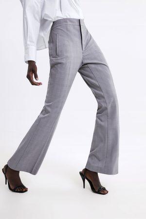 Zara Dames Wijde broeken - Geruite broek met wijd uitlopende pijpen