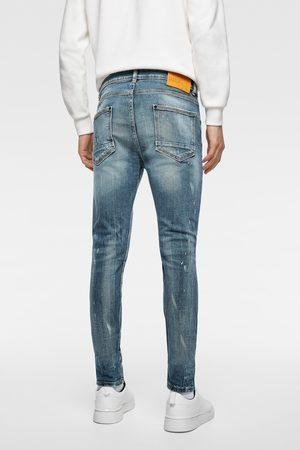 Zara Heren Pantalons - Denim met scheuren en bandplooien