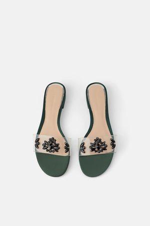 Zara Platte sandalen met vinyl bandje met siersteentjes