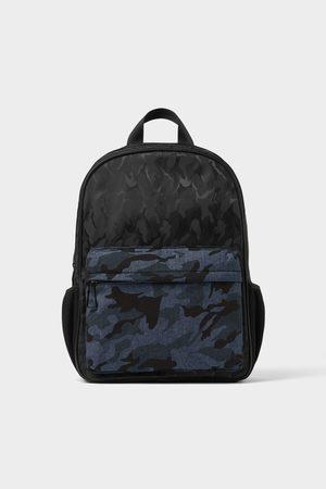 Zara Heren Rugzakken - Zwarte rugzak met camouflageprint