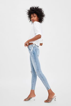Zara Mid-rise ripped skinny compact jeans
