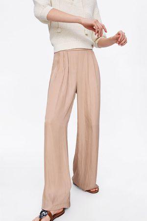 Zara Satin-finish palazzo trousers