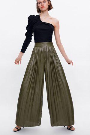 Zara Dames Wijde broeken - Wijde broek met glanseffect