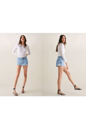 Zara Broekrok button fly skort sunrise blue