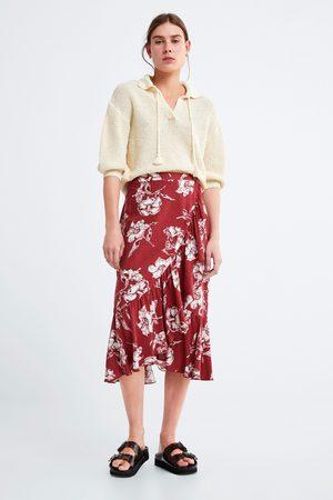 Zara Rok met bloemenprint en volant