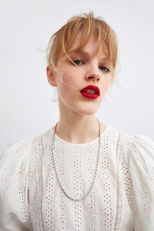 Zara Combi-blouse met gaatjesmotief en borduursel