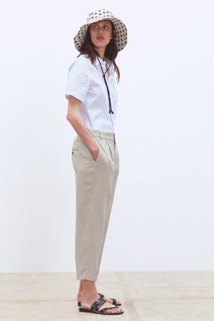 Zara Dames Pantalons - Broek met omslag zoom