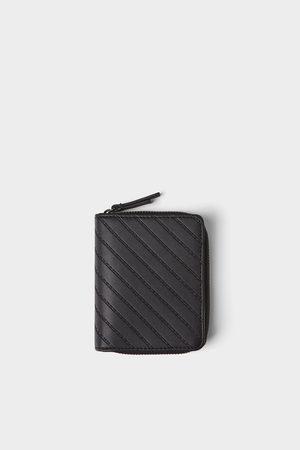 Zara Zwarte portemonnee met blauwe details