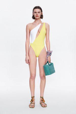 Zara Asymmetrisch badpak met kleurblok