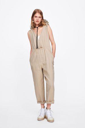 Zara Jumpsuit met geplooide schouderbanden