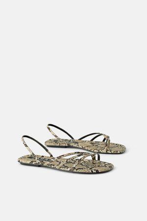 Zara Platte sandalen met dierenprint