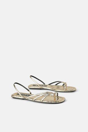 Zara Dames Sandalen - Platte sandalen met dierenprint