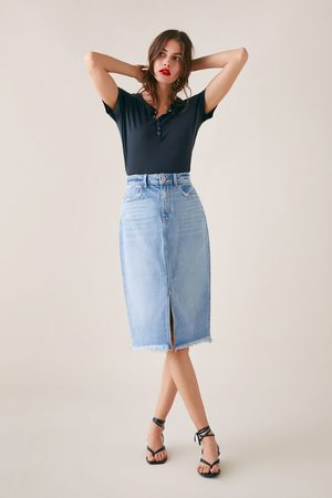 Zara Denim skirt with frayed hem