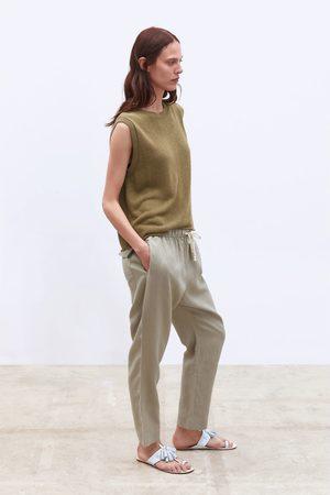 Zara Linnen broek met taillekoord