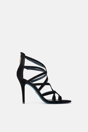Zara Leren sandaaltjes met hak blue collection