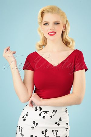 Bunny 50s Alex Top in Red
