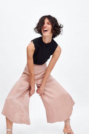 Zara Soepelvallende zijdeachtige broek