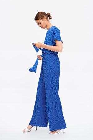 Zara Geplooide jumpsuit met stippen