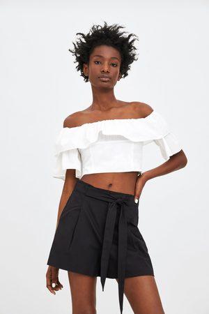 Zara Dames Bermuda's - Paperbag bermuda met ceintuur