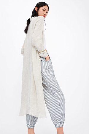 Zara Gestreepte slouchy broek met ceintuur